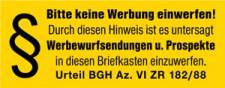 PVC-Aufkleber - BITTE KEINE WERBUNG - 308022/7 - Gr. ca. 90 x 35 mm