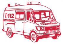 Aufkleber Wandapplikation - Rettungswagen - AP1011 - versch. Farben und Größen rot / 90cm