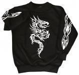 Sweatshirt mit Print - Tattoo - 09067 - versch. farben zur Wahl - schwarz / S
