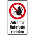 Verbotsschild - ZUTRITT FÜR UNBEFUGTE - Gr. ca. 20 x 30 cm - 320513/1