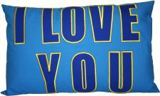 Zierkissen Dekokissen mit Einstickung - I LOVE YOU - Gr. ca. 55cm x 35cm - 11760 blau