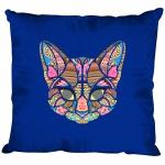 Kissen Dekokissen mit Print - Katze Cat Mandala - 11682 versch. Farben Royal