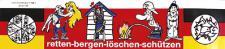 Schild mit Saugnapf - retten bergen löschen - 307771 - Gr. ca. 26, 5 x 8, 5 cm - Feuerwehr