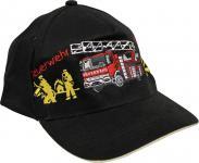 Kinder Baseball Cap mit farbigen Feuerwehr-Stick - Feuerwehr Löschzug - 68175 schwarz o. rot - Baumwollcap Baseballcap Schirmmütze Cappy