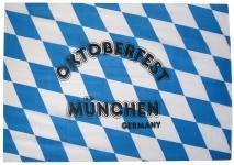 Deko-Fahne - Oktoberfest München - Gr. ca. 150x90cm - 07997 - Weiß-blaue Rauten-Flagge