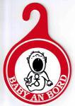 """(308044) PST- Schild """" BABY AN BORD"""" Gr. 15 X 10 cm"""