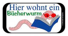 Türschild - Hinweisschild - Spaßschild - Hier wohnt ein Bücherwurm - 308119