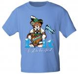 Kinder T-Shirt mit Print - I Love Oktoberfest - 08620 hellblau Gr. 134/146