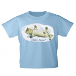 Kinder T-Shirt mit Print Cat Katzen Snow Angel Schnee-Engel KA058/1 Gr. hellblau / 152/164