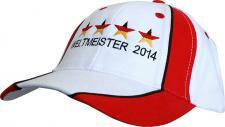 Baseballcap mit Einstickung - Deutschland Weltmeister 4 Sterne - 12375 weiß