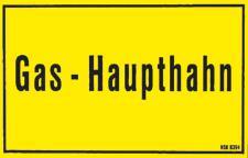 Hinweisschild - GAS-HAUPTHAHN - Gr. ca. 25 x 15 cm - 308394