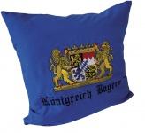 Dekokissen mit Einstickung - Königreich Bayern - Gr. ca. 40 x 40 cm - 11392 royalblau