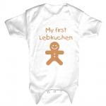 Babystrampler Body mit Print My First Lebkuchen 12742 weiß Gr. 18-24 Monate