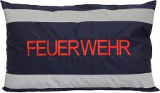 """Dekokissen Zierkissen mit EINSTICKUNG """" FEUERWEHR"""" NEU Gr. ca. 55cm x 35cm (11772 blau-grau) Sofakissen"""
