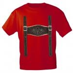 Kinder T-Shirt mit Print - Lederhose Hosenträger - 08632 Gr. 68-164 rot / 86/92