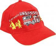 Kinder BaseCappy mit Feuerwehr-Bestickung - Feuerwehr Löschzug - 68175-1 rot - Baumwollcap Baseballcap Hut Cap Schirmmütze
