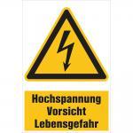 Warnschild - HOCHSPANNUNG - Vorsicht Lebensgefahr - Gr. ca. 20 x 30 cm - 320292/1