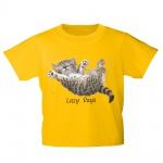 Kinder T-Shirt mit Print Cat Katze Lazy Days in Hängematte KA050/1 Gr. gelb / 134/146