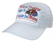 Kinder-Baseballcap mit Einstickung - Papa ist Traktor fahr´n - 69115 weiß