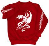 Sweatshirt mit Print - Tattoo Drache - 09036 - versch. farben zur Wahl - Gr. rot / XL