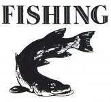 PVC Aufkleber Applikation Fisch - Fische - Angler - Angeln - FISHING - 307126 - Gr. ca. 7 x 6, 5 cm