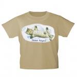 Kinder T-Shirt mit Print Cat Katzen Snow Angel Schnee-Engel KA058/1 Gr. beige / 122/128