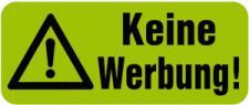 PVC-Aufkleber - KEINE WERBUNG - 302083/1 - Gr. ca. 48 x 20 mm