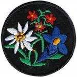 Aufnäher - Edelweiß Enzian Blumen - 01848 - Gr. ca. 6 cm