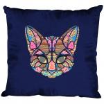 Kissen Dekokissen mit Print - Katze Cat Mandala - 11682 versch. Farben Navy