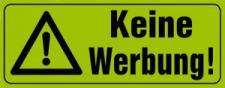 PVC-Aufkleber - KEINE WERBUNG - 308022/4 - Gr. ca. 90 x 35 mm