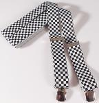 Hosenträger mit Print - Karo schwarz-weiß Rennkaro - 06637 schwarz-weiß
