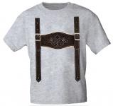 Kinder T-Shirt mit Print - Lederhose Hosenträger - 08632 Gr. 68-164 grau / 122/128