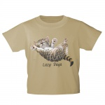 Kinder T-Shirt mit Print Cat Katze Lazy Days in Hängematte KA050/1 Gr. beige / 122/128