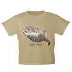 Kinder T-Shirt mit Print Cat Katze Lazy Days in Hängematte KA050/1 Gr. beige / 152/164