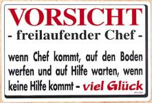 Spaß-Schild - Vorsicht freilaufender Chef... - 308992 - 30cm x 20cm - Arbeit Kunststoffschild