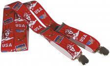 Hosenträger mit Print - USA Freiheitsstatue - 06711 rot