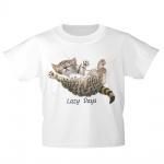 Kinder T-Shirt mit Print Cat Katze Lazy Days in Hängematte KA050/1 Gr. weiß / 134/146