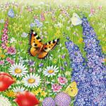 Servietten 20er Set - TISSUE mit Motiv -Schmetterling Blumenwiese- 33728 Gr. ca. 33x33cm