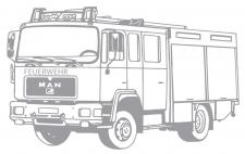 Aufkleber Wandapplikation - Feuerwehrauto Feuerwehrwagen - AP1008 silber / 70cm