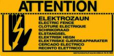 Warnschild - ELEKTROZAUN 9 Sprachen - 308548 - Gr. 20 x 10 cm