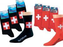 (56355-33) 3er Pack SOCKEN Damen + Herren Gr. 37-46 - Schweiz - Landhaus rot / 43-46