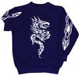 Sweatshirt mit Print - Tattoo - 09067 - versch. farben zur Wahl - blau / M