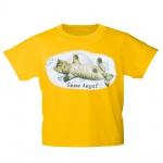 Kinder T-Shirt mit Print Cat Katzen Snow Angel Schnee-Engel KA058/1 Gr. gelb / 122/128