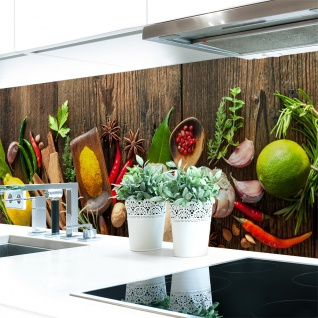 Küchenrückwand Spices on Wood Premium Hart-PVC 0, 4 mm selbstklebend - Direkt auf die Fliesen
