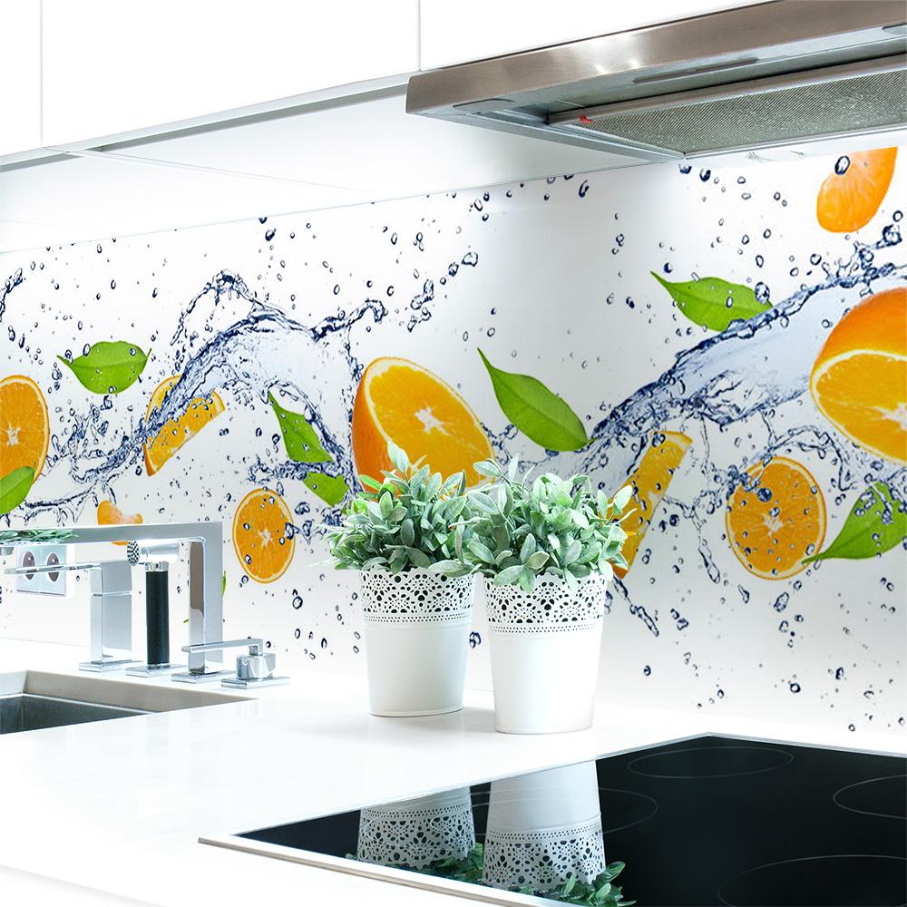 Kuchenruckwand Orange Splash Premium Hart Pvc 0 4 Mm Selbstklebend