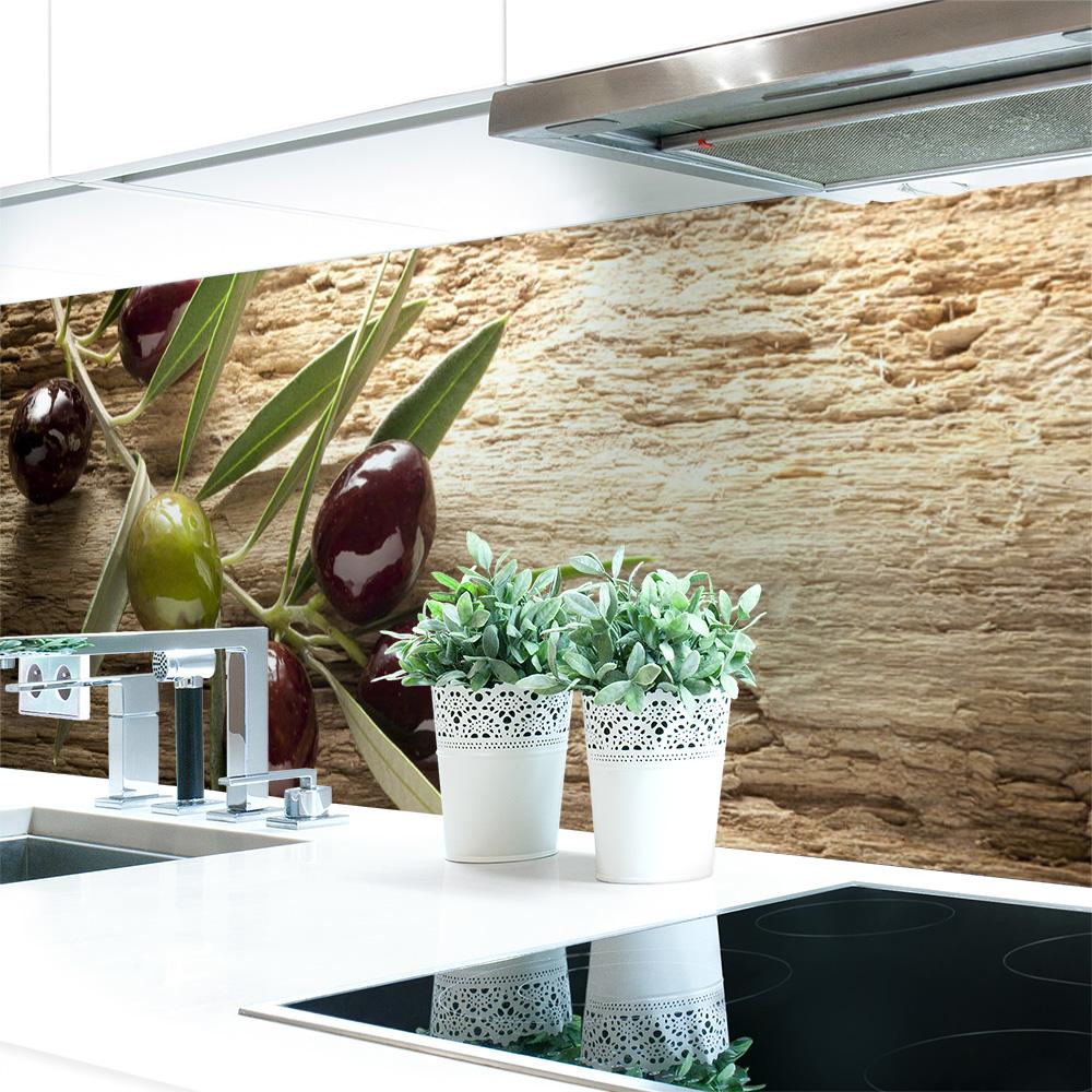 k chenr ckwand oliven premium hart pvc 0 4 mm selbstklebend direkt auf die fliesen kaufen. Black Bedroom Furniture Sets. Home Design Ideas