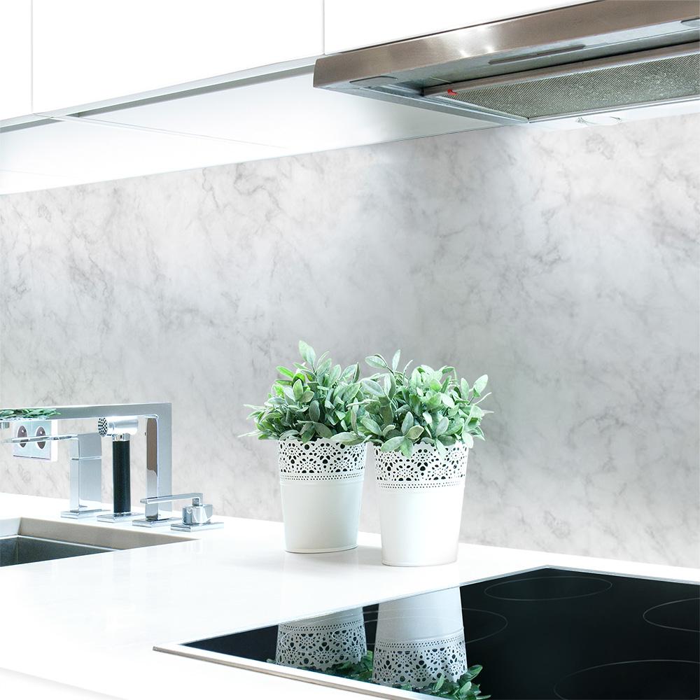 k chenr ckwand marmor wei premium hart pvc 0 4 mm selbstklebend direkt auf die fliesen. Black Bedroom Furniture Sets. Home Design Ideas