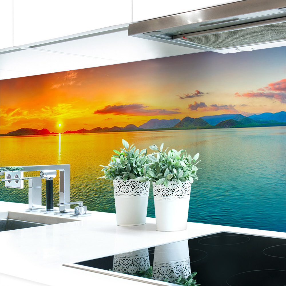 Kuchenruckwand Sonnenuntergang Bunt Premium Hart Pvc 0 4 Mm