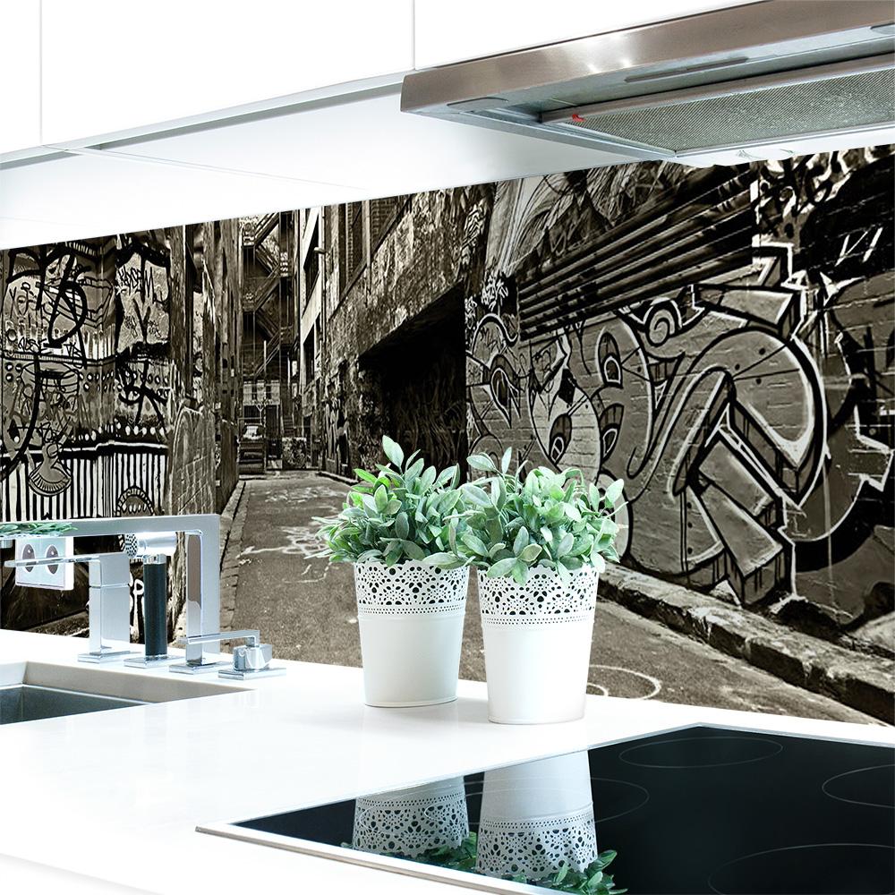 k chenr ckwand graffiti premium hart pvc 0 4 mm. Black Bedroom Furniture Sets. Home Design Ideas