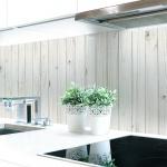 Küchenrückwand Holzwand Weiß Premium Hart-PVC 0, 4 mm selbstklebend - Direkt auf die Fliesen
